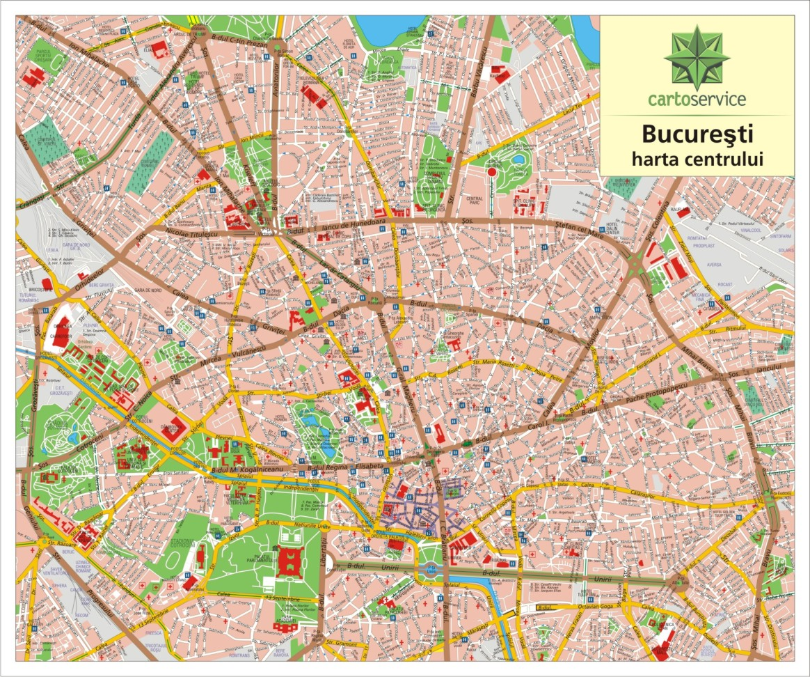 Bucharest - wall map of the city centre